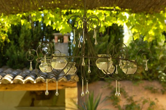 Candle Chandelier under Pergola
